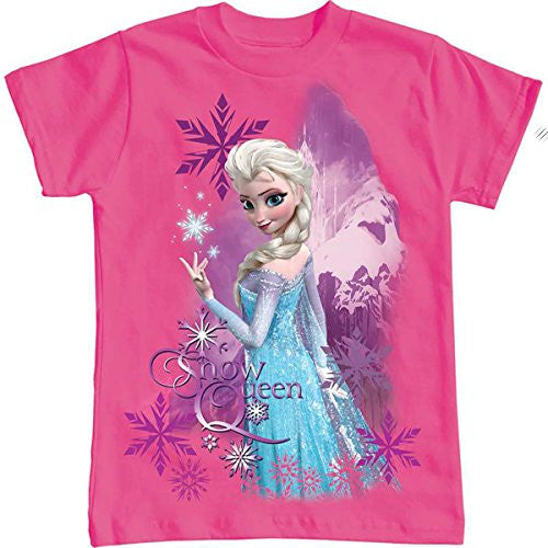 Disney Elsa the Snow Queen Youth Girls Tee T Shirt Frozen Snow Flake Pink