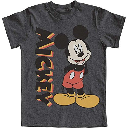 Disney Mickey Mouse Classic Standing Youth T Shirt - Charcoal Heather - SHOPME.COM