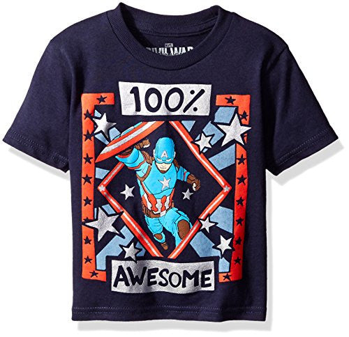 Marvel Boys' Toddler Boys' 100 Awesome 1 T-Shirt, Navy, 3T