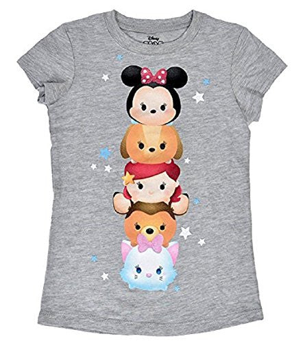 Disney Tsum Tsum Totem Pole Youth Girls Fashion Top T-Shirt, Gray - SHOPME.COM