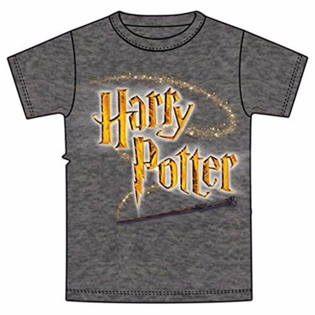 Disney Youth Unisex T Shirt Harry Potter Logo Wand Gray - SHOPME.COM