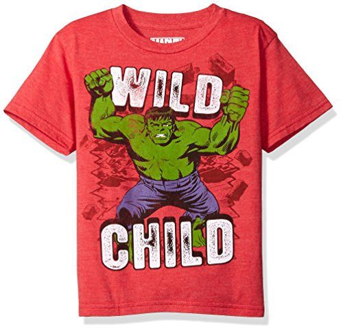 Marvel Little Boys' the Incredible Hulk T-Shirt, Red Heather, 4