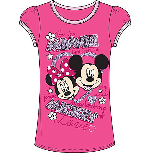 Disney Mickey & Minnie Mouse Girls Fashion T Shirt Top - Hot Pink