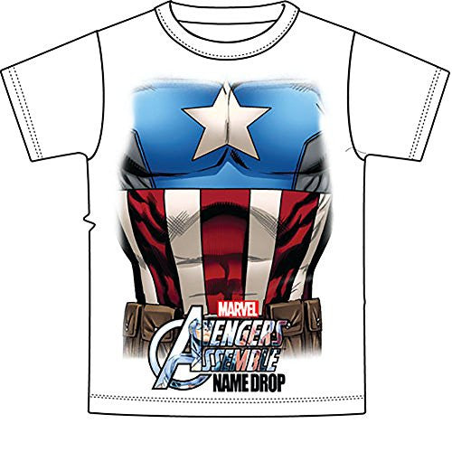 Marvel Avengers Captain America Boys T Shirt - Red White Blue - SHOPME.COM