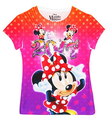 Disney Minnie Mouse 2017 Youth Girls Sublimated T Shirt Multicolor Tee - SHOPME.COM