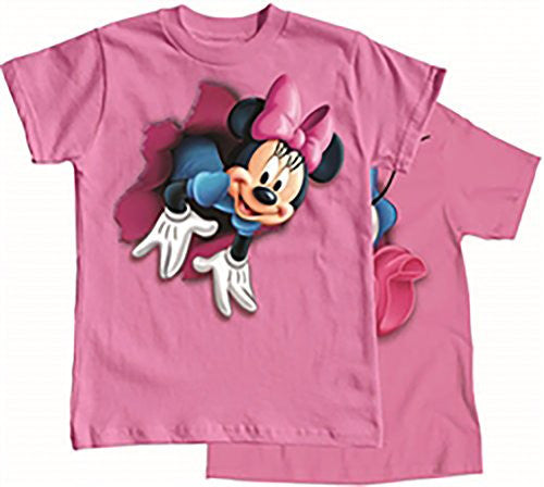 Disney Girls Minnie Mouse POP OUT Front & Back Print T Shirt - Pink - SHOPME.COM