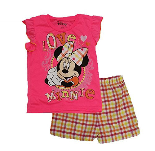 "Disney Girls' 'Love Minnie Mouse"" Printed Short Set - SHOPME.COM"