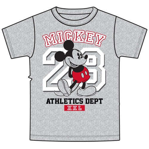 Disney Adult Unisex Shirt Mickey 28 Athletic, Gray