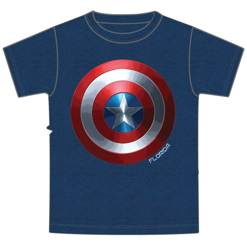 Marvel Adult Mens T Shirt Captain Shield, Heather Navy (Florida Namedrop)