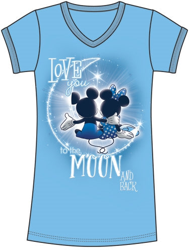 Disney Womens Sleep Shirt Mickey & Minnie to the Moon - SHOPME.COM