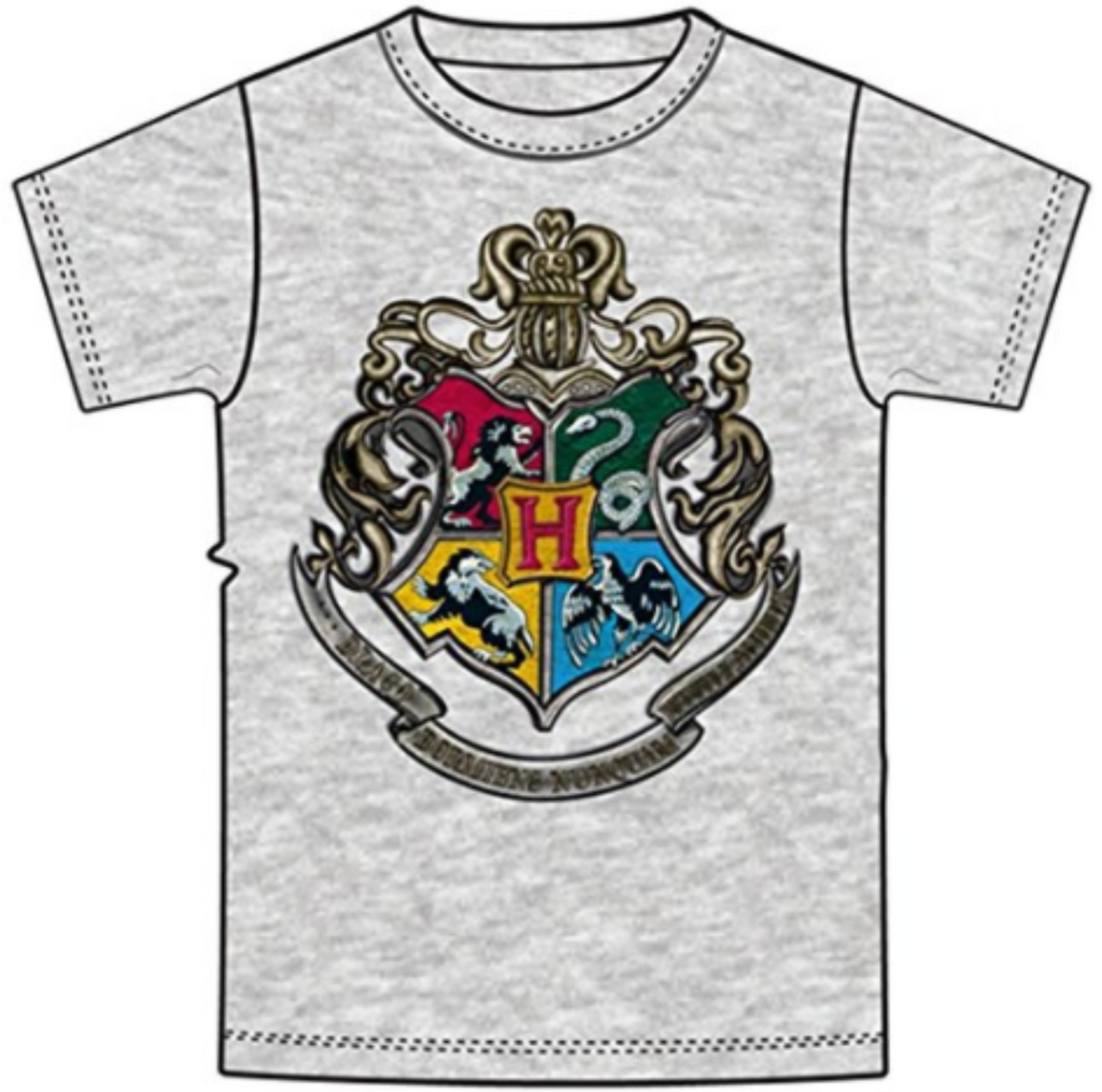 Disney Youth Unisex T Shirt Harry Potter Hogwarts Crest Gray - SHOPME.COM