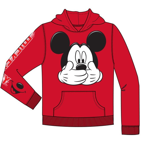 Disney Youth Mickey Big Smile Pullover Hoodie, Red