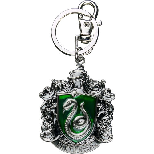 Harry Potter Slytherin School Crest Pewter Keychain - SHOPME.COM