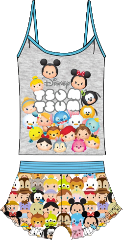Disney Women's Adult 2 piece Pajama Set Tsum Tsum Groupie, Multi Colored - SHOPME.COM