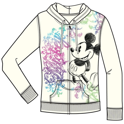 Disney Adult Junior Ornate Mickey Mouse Zip Up Hoodie, Off White - SHOPME.COM