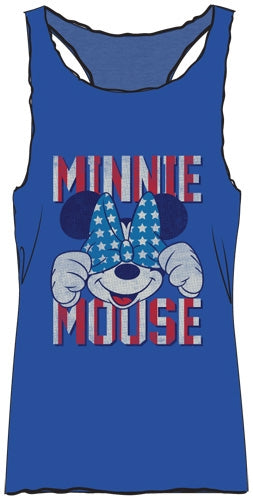 Disney Adult Womens Fashion Tank Minnie Star Bow, Blue - SHOPME.COM
