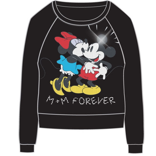 Disney Adult Womens Pullover Hacci Sequins Mickey Minnie Forever, Black - SHOPME.COM
