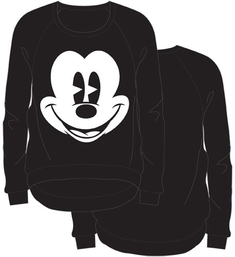 Disney Mickey Mouse Junior Pullover Light Weight Sweater Big Face Black - SHOPME.COM