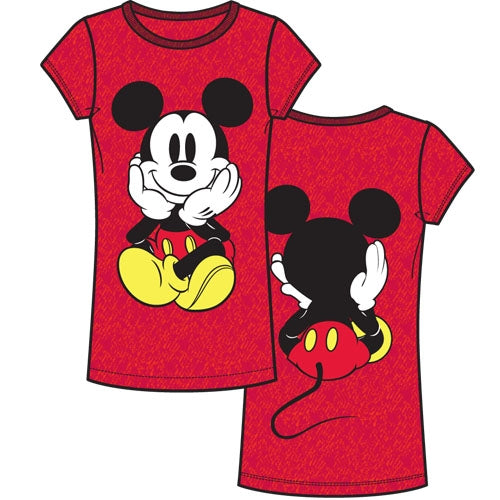 Adult Womens Fashion Top Mickey Front and Back, Cherry Red - SHOPME.COM