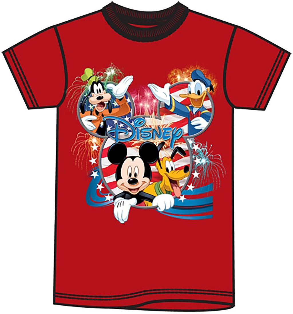 Disney Mickey Mouse Donald Duck Goofy Pluto USA Plus Size T shirt - SHOPME.COM