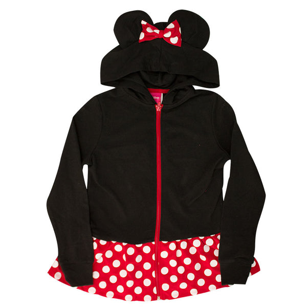 Disney Youth Girls Minnie Ears Dress Up Zipper Hoodie, Black Red
