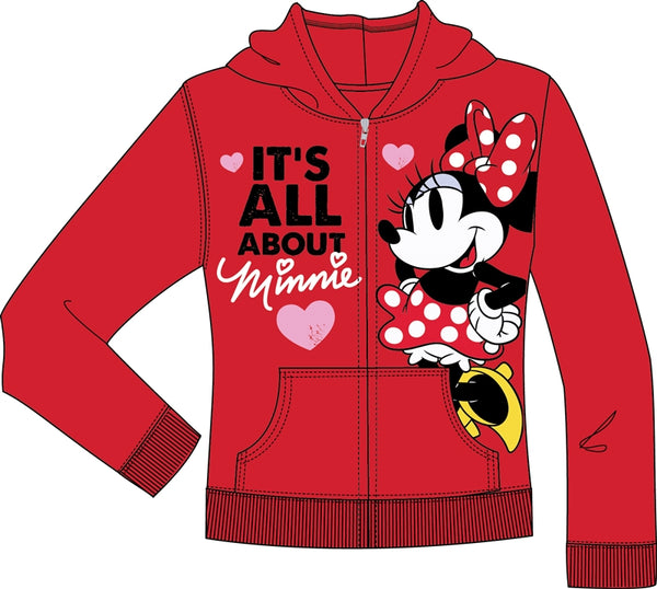 Disney Youth Polka Dot Minnie Zip Up Hoodie, Red