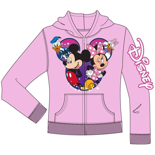 Disney Youth Group Cast Mickey Minnie Donald Daisy Zip Up Hoodie, Light Pink
