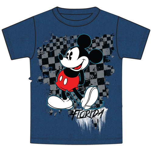 Disney Youth Boys Tee Shirt Checker Pattern Mickey, Blue (Florida Namedrop) - SHOPME.COM