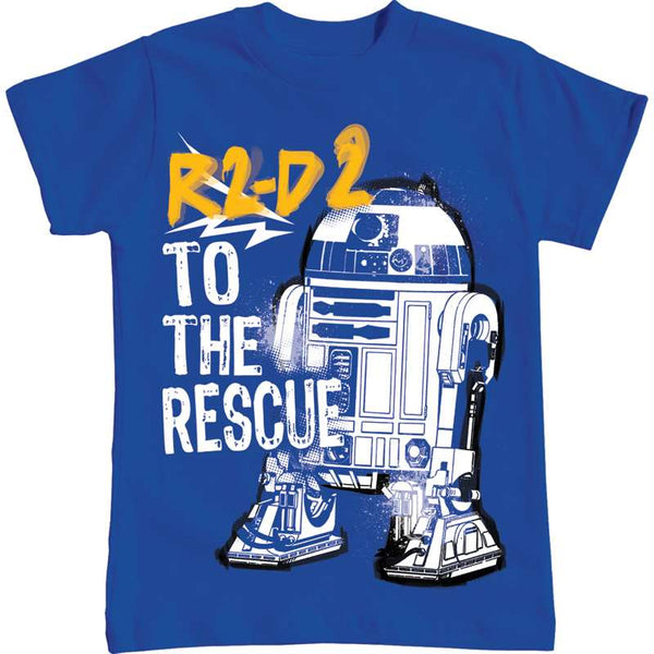 Star Wars Youth Boys T Shirt R2D2 To The Rescue, Royal Blue - SHOPME.COM