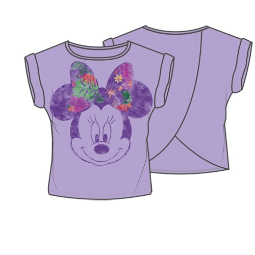 Disney Minnie Tropical, Youth Girls Fashion Top Open Back - Purple - SHOPME.COM