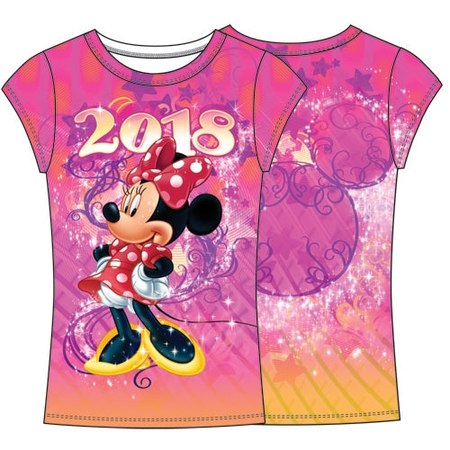 Disney Youth Fashion Top 2018 Celebrate Minnie Dated Sublimated Top, Multi Color - SHOPME.COM