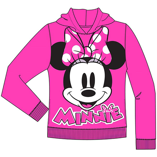 Disney Minnie Mouse Pied Big Face Youth Girls Pullover Hoodie Fuchsia - SHOPME.COM