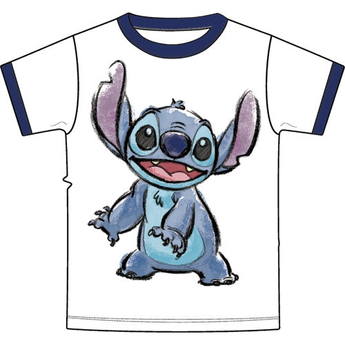 Disney Youth Ringer T-Shirt Stitch Watercolor, White Navy - SHOPME.COM