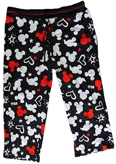 Disney Mickey Mouse Womens Pajama Pant With Silhouette Print - Black White Red - SHOPME.COM