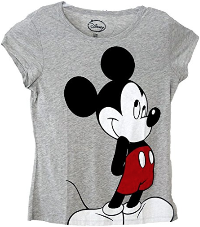 Disney Classic Mickey Mouse Standing Womens Pajama T Shirt Top - Grey - SHOPME.COM
