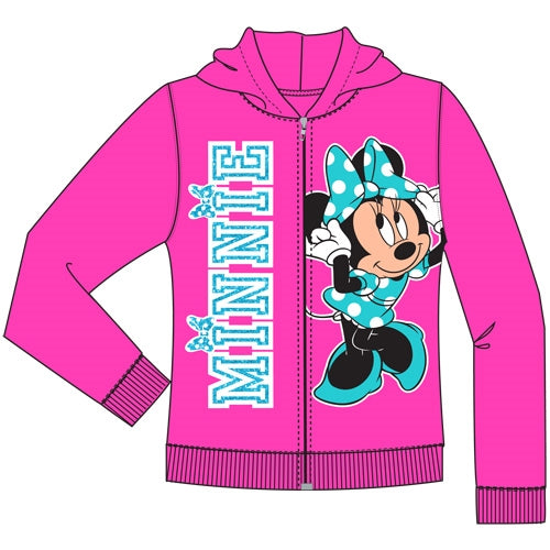 Disney Toddler Minnie Mouse Bow Zip Up Hoodie, Fuchsia - SHOPME.COM