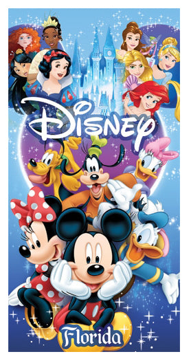 Disney Mickey Mouse Donald Duck Goofy Pluto Snow White Merida Mulan Ariel Beach Towel - SHOPME.COM