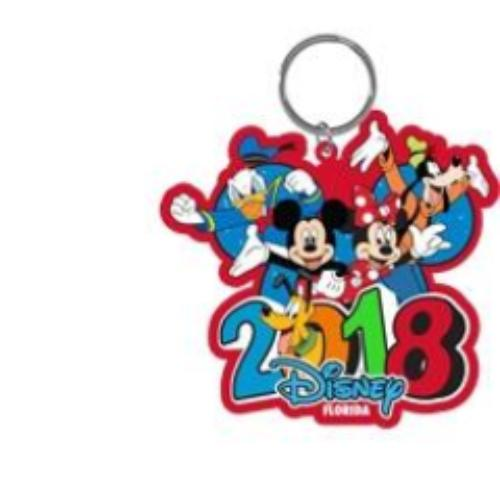 Disney 2018 Burst Four Mickey Minnie Donald Goofy Pluto Laser Keychain, (Florida Namedrop) - SHOPME.COM