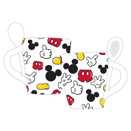 Disney Mickey Mouse Parts Mug with Spoon, White - SHOPME.COM