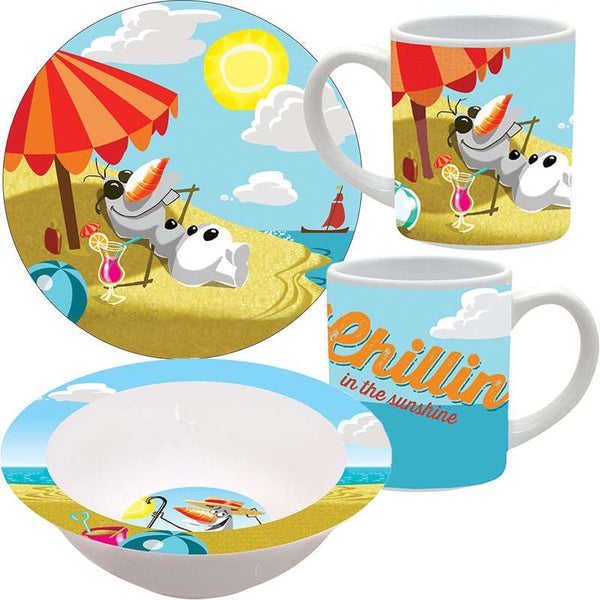 Disney Frozen Chillin Olaf 3pc Porcelain Dinner Set - SHOPME.COM