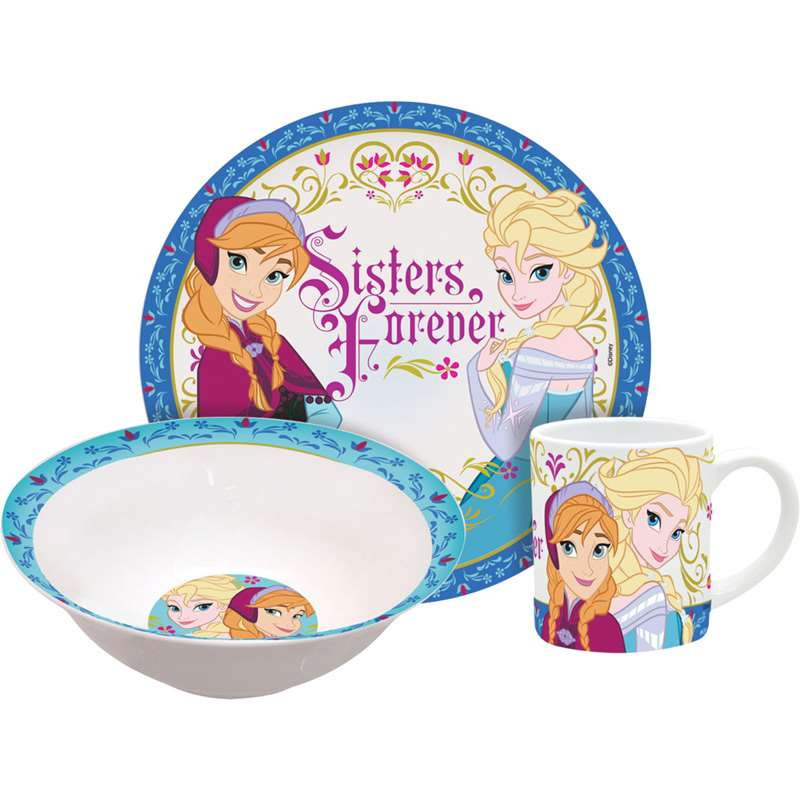 Disney Frozen Sisters Elsa Anna 3pc Porcelain Dinner Set - SHOPME.COM