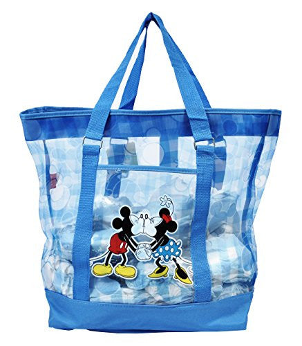 Disney Mickey and Minnie Mouse Large Mesh Beach Tote (Blue) - SHOPME.COM