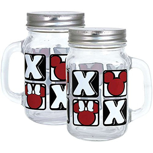Disney Mickey Xoxo Grid Canning Mason Jar - SHOPME.COM