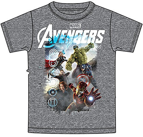 Marvel Avengers Iron Man Thor Hulk & Captain America Boys T Shirt - Grey - SHOPME.COM