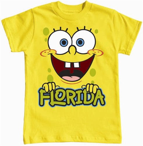 Nickelodeon Sponge Bob Square Pants Boys T Shirt - Florida Yellow Print - SHOPME.COM