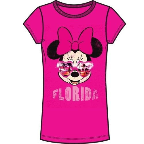 Disney Adult Womens Fashion Tee Minnie Mouse Florida Sunglasses Petite - SHOPME.COM