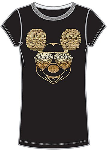 Disney Classic Cool Mickey Mouse Love Junior Women's T Shirt Top - Black Gold - SHOPME.COM