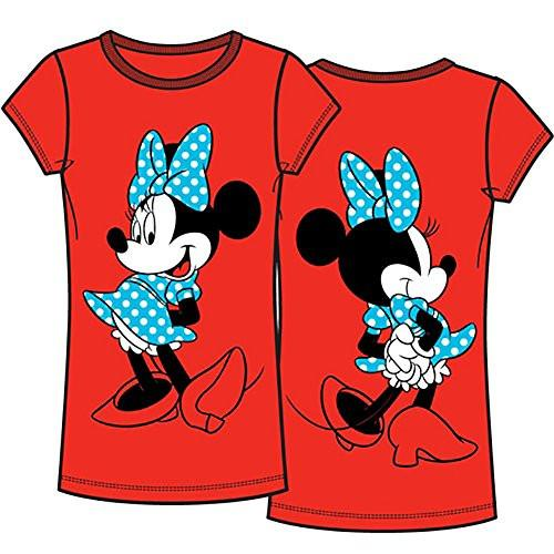 Disney Classic Polka Dot Minnie Mouse Front and Back Junior T Shirt Top - Red - SHOPME.COM