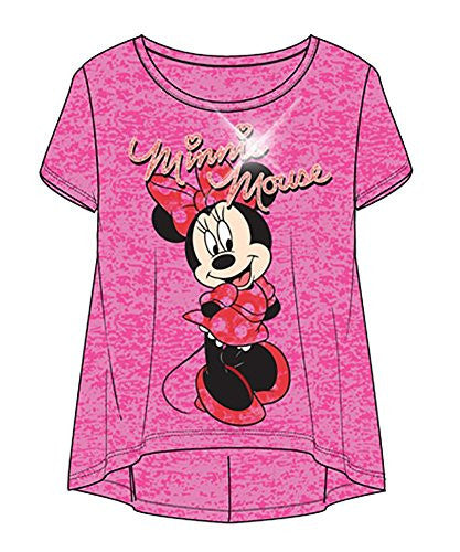 Disney Minnie Mouse Standing, Youth Girls Fashion Top Hilo Burnout Fuchsia - SHOPME.COM