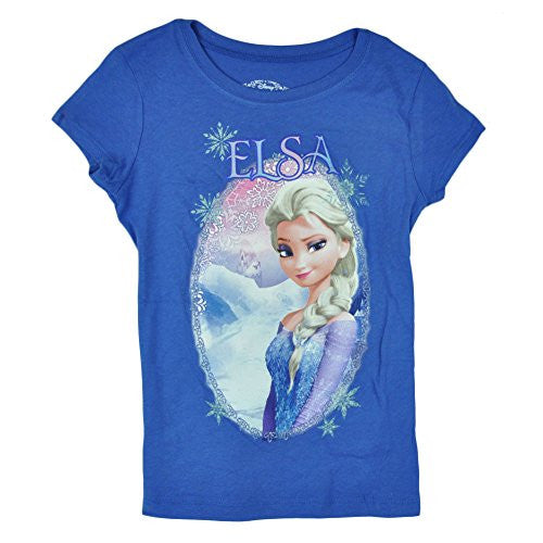 Disney Frozen Elsa Selfie Glitter Graphic Girls Kids Blue Tshirt Tee